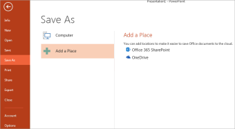 Add OneDrive as a place