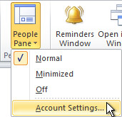 People Pane Account Settings command on the ribbon