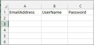 Cell headings in the Excel migration file.