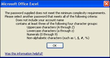 Error message when too-few characters are used for password