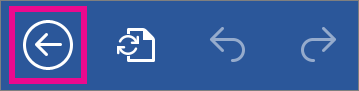 The Back button in Word for the iPad