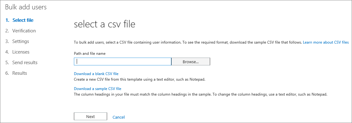 Step 1 of the Bulk Add Users Wizard - Select CSV File
