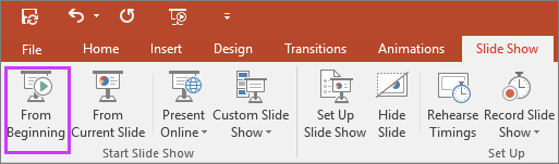 """Shows the """"from beginning"""" button on the slide show tab in PowerPoint"""