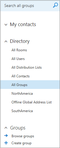 Folders and directories that appear when you browse Groups in Calendar for Outlook on the web for business