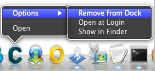 Options > Remove from Dock