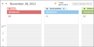 Multiple calendars with different background colors