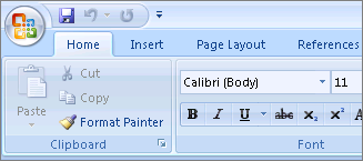 Main Home ribbon in Word 2007