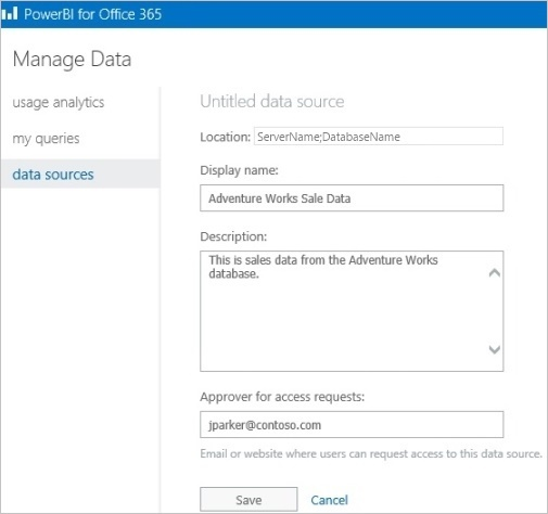 Manage data source information