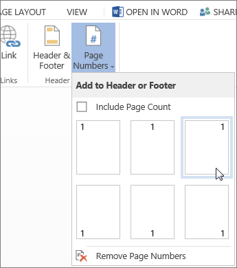 Image of Page Numbers gallery in Word Online