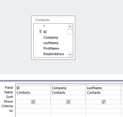 Save query results as a table access for Table design grid access