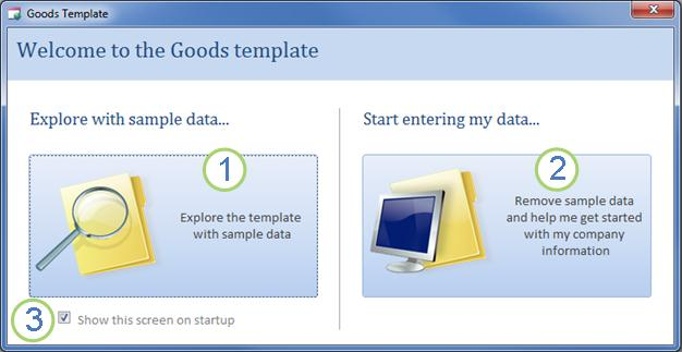 The Goods template welcome dialog box