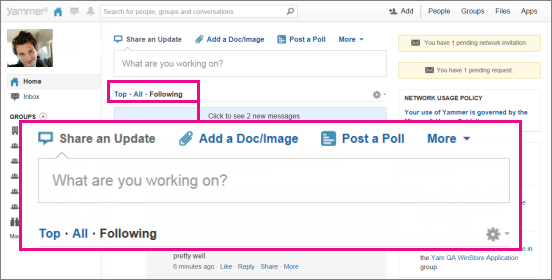 Screenshot of Yammer website with a pink box highlighting the Top, All, and Following view toggle