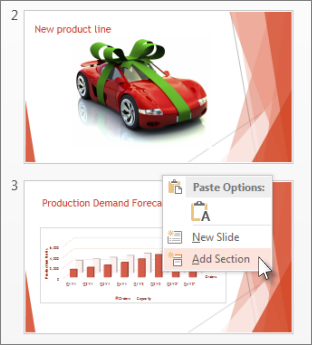 Click between two slides to insert a section