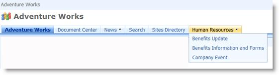 Drop-down menu in top link bar displaying subsites of the current site