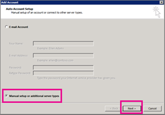 Use manual setup in Outlook 2013