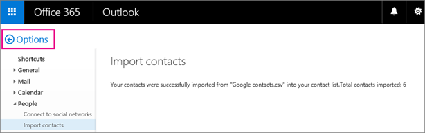 To view your contacts, choose the Options back button.