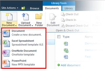 Choose from several templates when adding a new item to the library