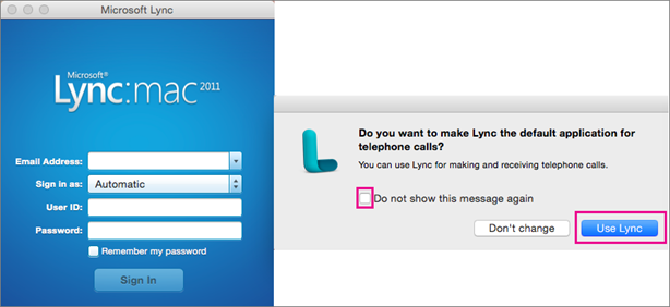 If you want to use Lync for telephone calls, choose Use Lync.