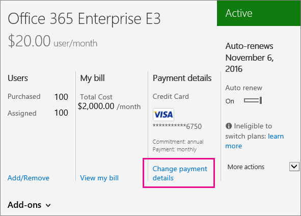 Subscription detail with Change payment option highlighted
