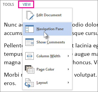 Image of View menu in Read Mode with the Navigation Pane option selected.