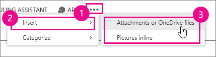 Outlook Web App more options, attachments or pictures