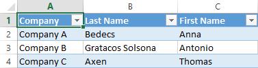 Excel spreadsheet displaying three records of data across three columns