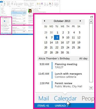 Calendar peek