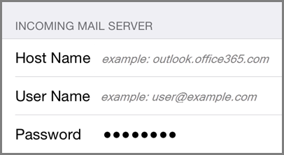 Incoming mail server settings