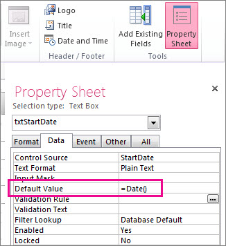 Property Sheet showing the Default Value property set to Date().