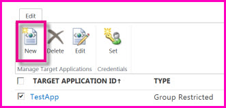 Screenshot of the SharePoint Online Administration Center page for configuring a SecureStore Target Application.