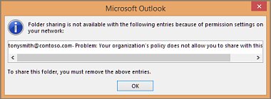 Error message when you try to share contacts outside your organization