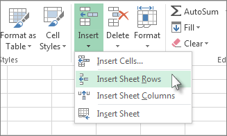 Click Insert, and then Click Insert Sheet Rows