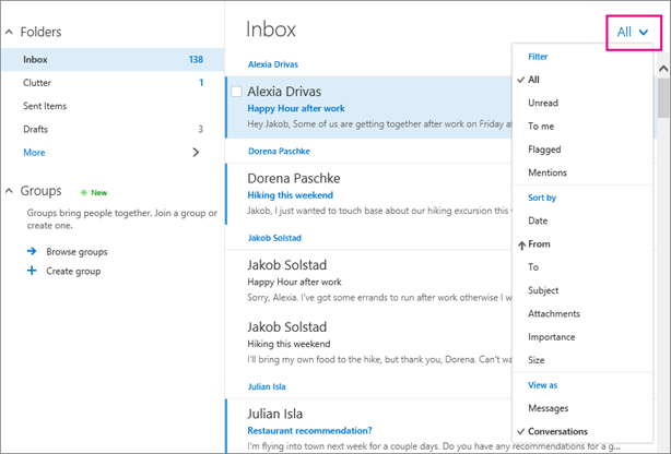 Use the All menu to sort your email for all of your connected accounts.