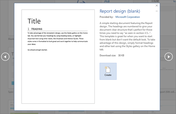 Shows a Report design template preview in Word 2016.