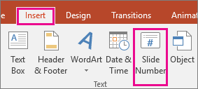 shows the slide number button on the ribbon in powerpoint