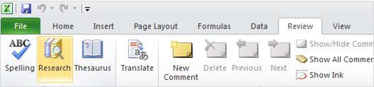 Excel ribbon review tab