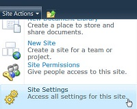 Site Settings Site Menu
