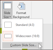shows dialog in powerpoint where you select a custom slide size