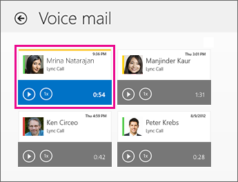 Voice mail tiles on Voice mail screen