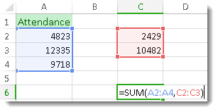 Using SUM with two ranges of numbers