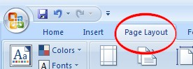 Page Layout tab on Ribbon