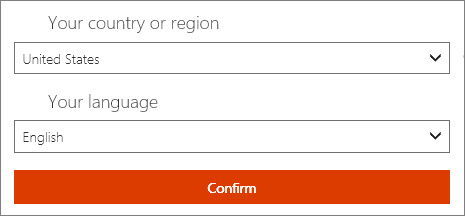 Select your prefered country or region and language.