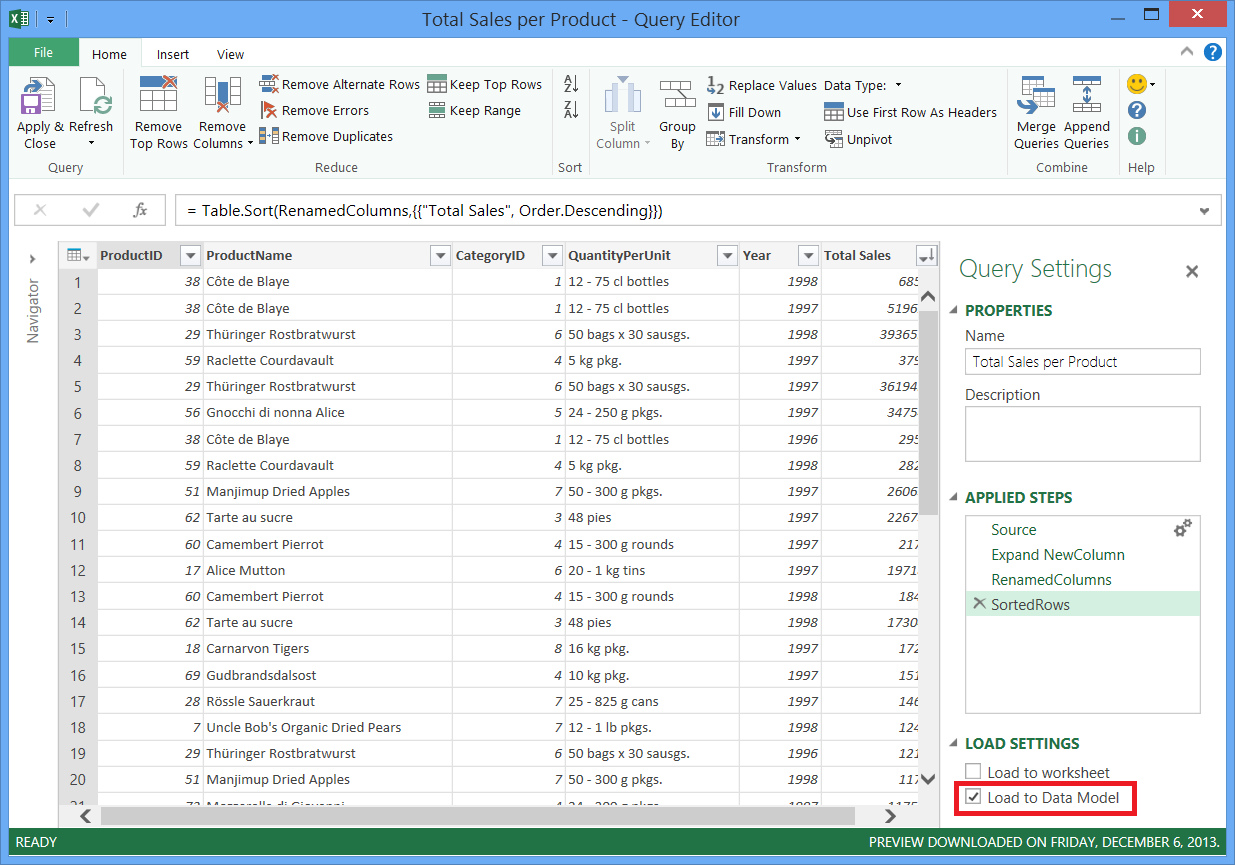 Load Excel Data Model