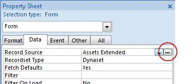 The Build button on the property sheet.