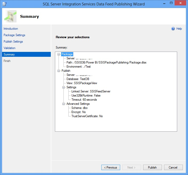 SSIS Package Publish Wizard - Summary Page