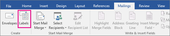 The Labels option is highlighted on the Mailings tab.