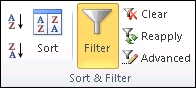 Filter command in the Sort and Filter group on the Data tab