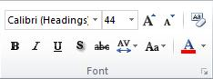 The Font group on the Home tab in the PowerPoint 2010 ribbon.
