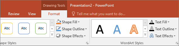 Shows the drawing tools tab on the ribbon in PowerPoint