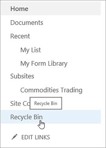 Choose Recycle Bin on left navigation.